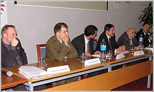 Foto: Zľava: L. Kaminski, E. Stehlík, P. Matijek (moderátor), J. Langoš,  M. Hulík, P. Žáček.